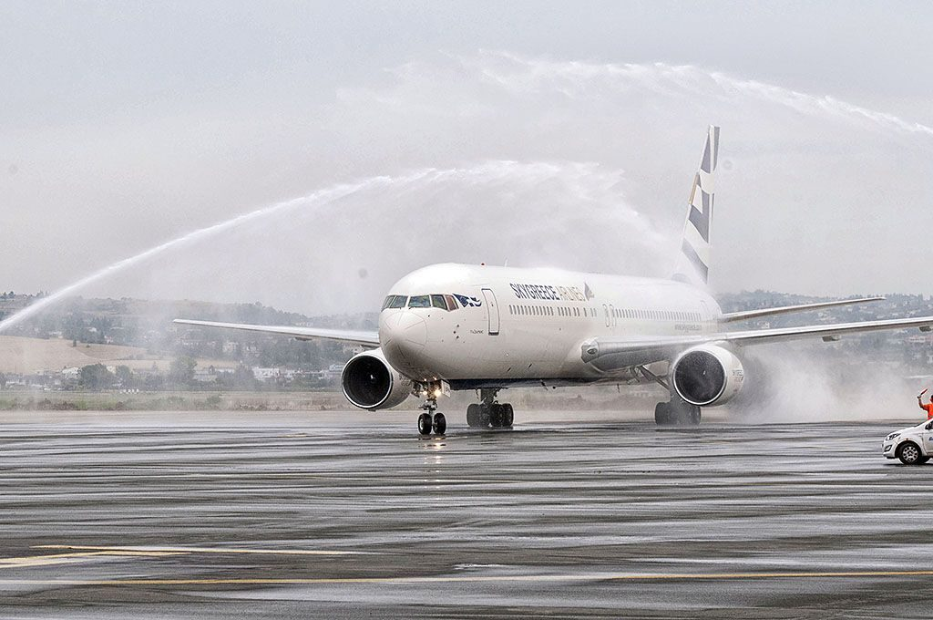 """The water salute in Thessaloniki SKG of """"Taxiarhis"""" 767-300ER to mark the inaugural flight from Thessaloniki to Toronto via Budapest."""