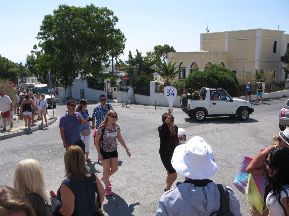Tourists on Santorini Island.