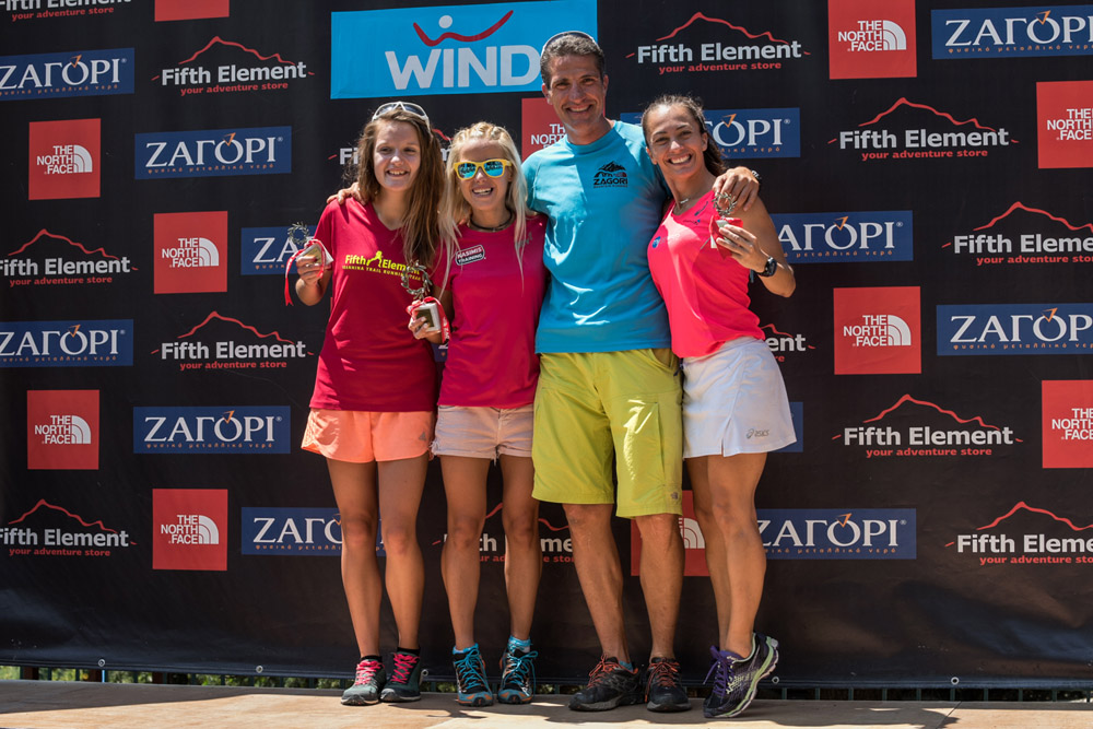 (L-R) Dioni Gorla, Christina Bogiatzi, Vassilis Tzoumakas (organizer and technical manager of the race), and Athanasia Tsoumeleka (Olympic gold medalist, race walking).