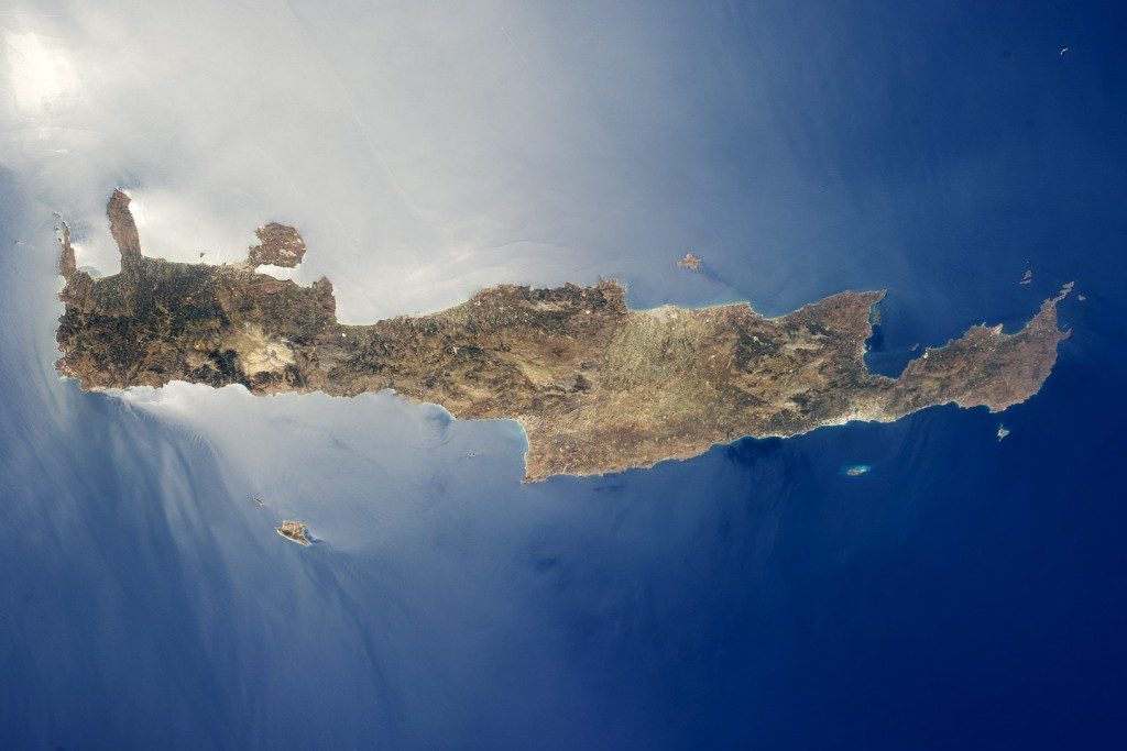 The island of Crete as viewed from space. Photo credit: Earth Science and Remote Sensing Unit, NASA Johnson Space Center