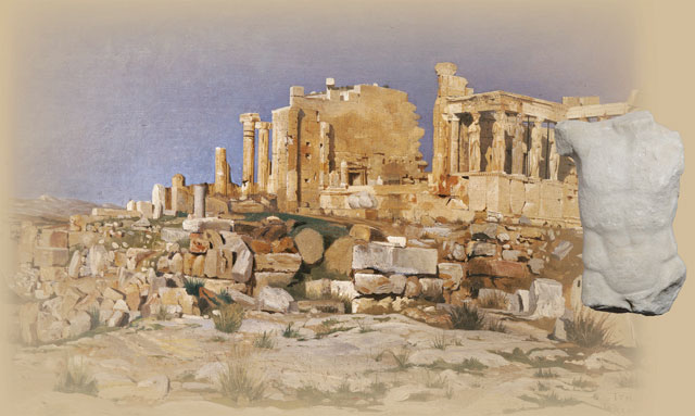 Photographic composition of the oil painting of Josef Theodor Hansen depicting the Erechtheion, 1881 and the marble male torso attached to the frieze of the same monument.