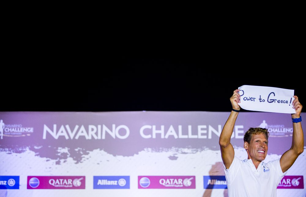 Greek-American ultramarathon runner Dean Karnazes and ambassador of Navarino Challenge Dean Karnazes (photo by Vladimir Rys).