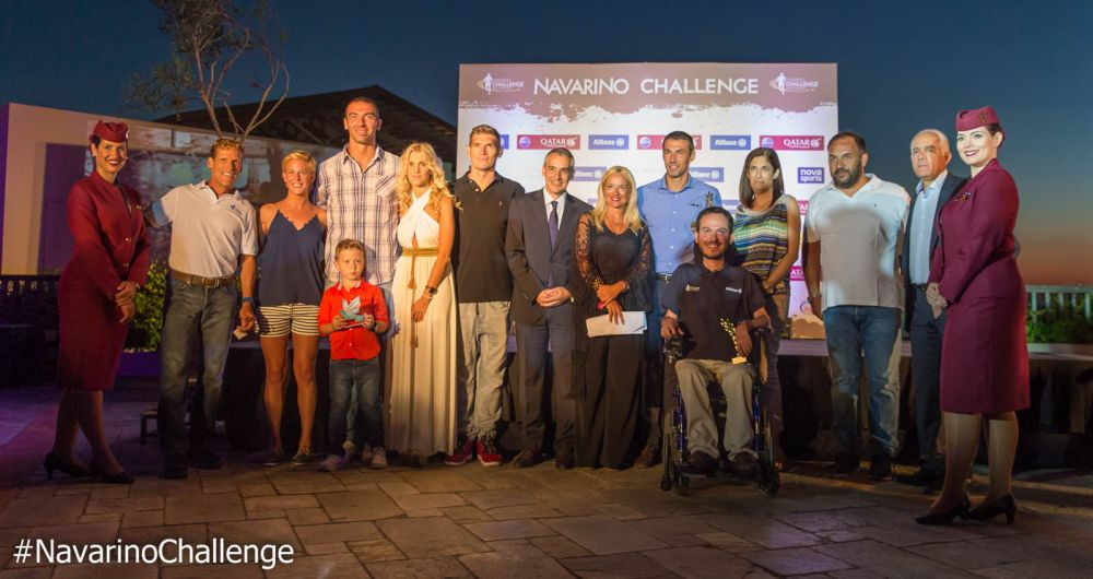 "The honorees of the award ceremony during the ""Cocktail Night by Qatar Airways"" for Navarino Challenge (photo by Elias Lefas)."