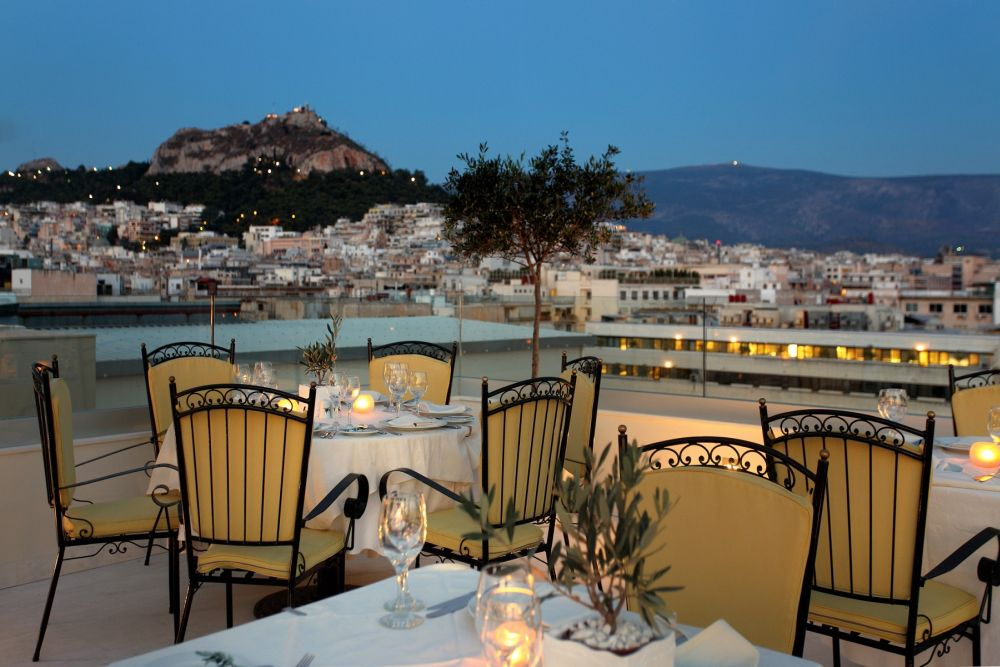 View of Lycabettus Hill from the Olive Garden Bar & Restaurant.