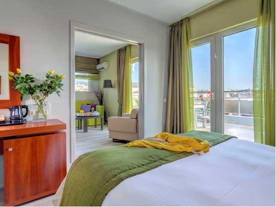 Polis Grand's suite with Acropolis view.