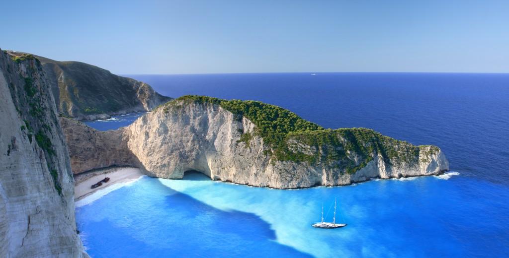 "Shipwreck Beach (known as the ""Navagio"") on Zakynthos."