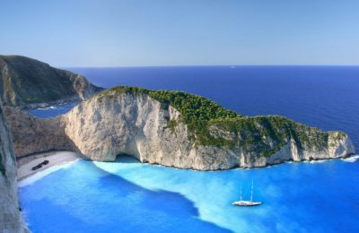 "Shipwreck Beach (known as the ""Navagio"") on Zakynthos."