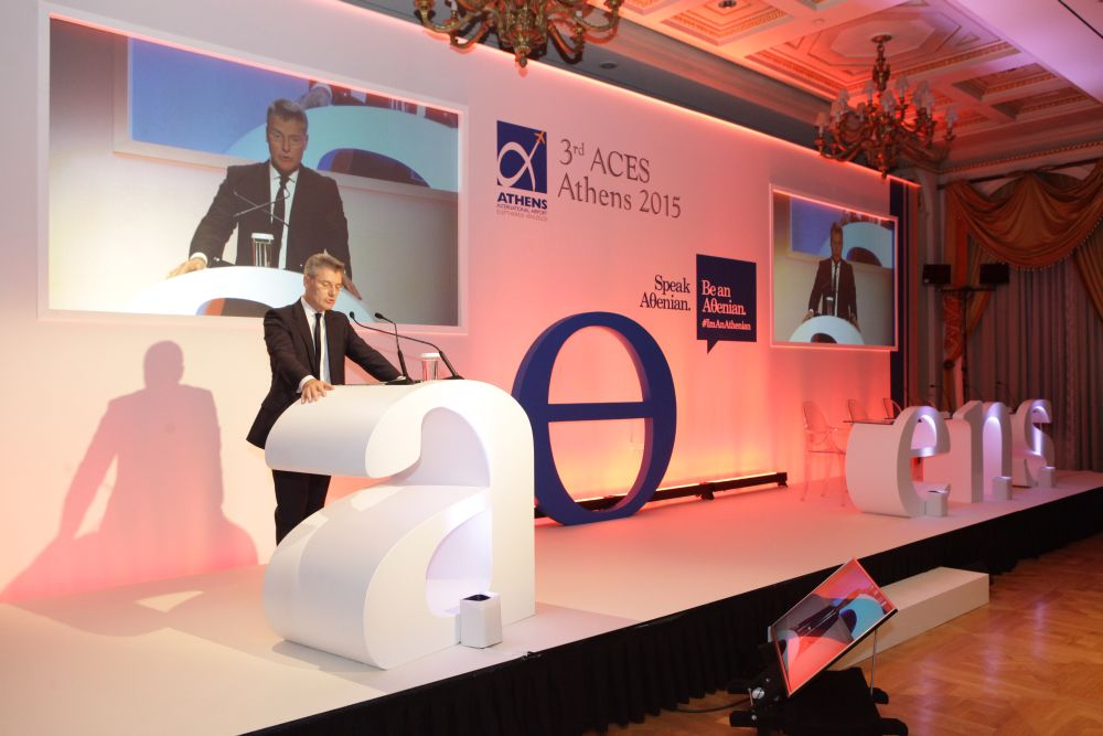 Athens International Airport CEO Yiannis Paraschis, at the opening of the 3rd ACES – Athens Symposium.