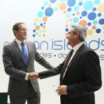 CNN journalist Richard Quest and South Aegean Prefect George Hadjimarkos at the region's stand.