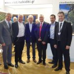 Andreas Andreadis (Greek Tourism Confederation-SETE), Yiannis Boutaris (Thessaloniki Mayor), Ioannis Yiorgos (Region of Halkidiki), Spyros Pengas (Municipality of Thessaloniki) and Grigoris Tassios (Halkidiki Tourism Organization).