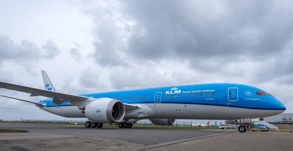 "KLM's first Boeing 787 Dreamliner at Schiphol is named ""Sunflower""."