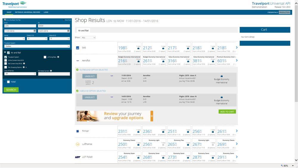 Travelport_uAPI demo site