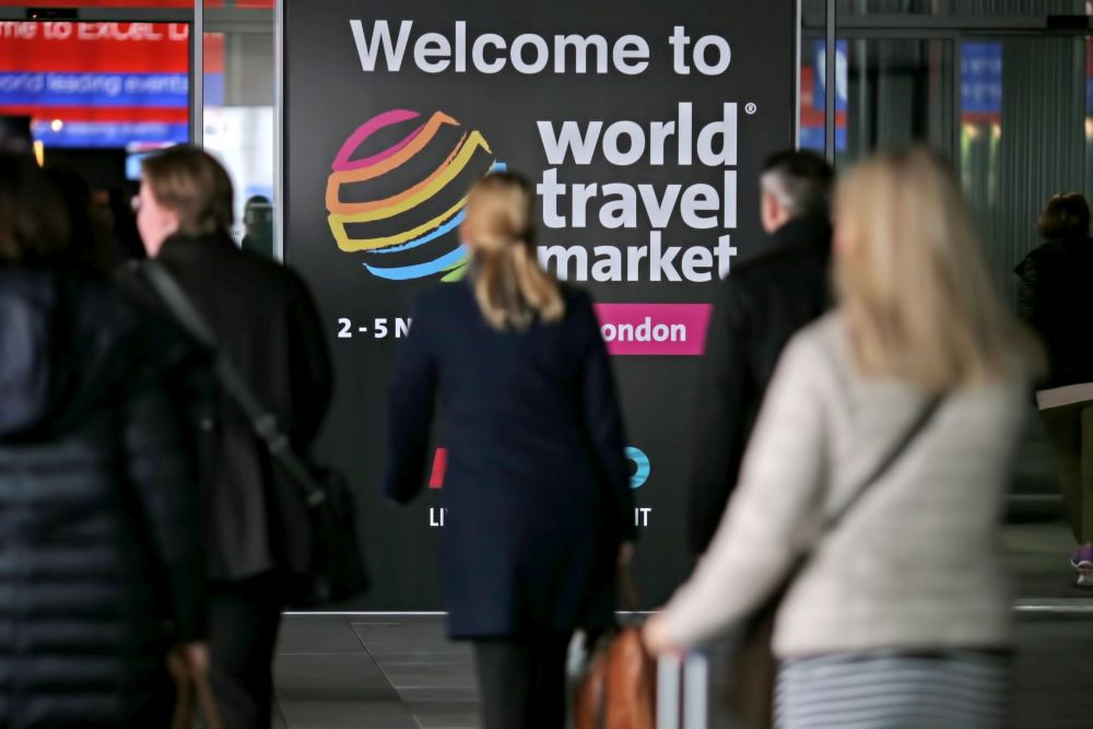 World Travel Market 2015, ExCel, London - Attendees arriving at the east entrance.