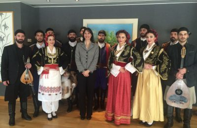 Greek Alternate Tourism Minister Elena Kountoura with the Society of Cretans in Traditional Costume.