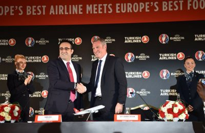 M. İlker Aycı, Turkish Airlines Board Chairman and Guy-Laurent Epstein, Marketing Director of UEFA Events SA.