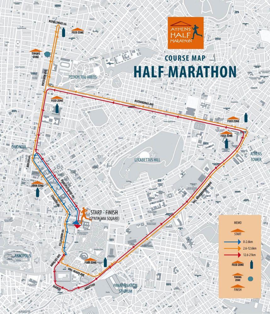 Athens Half Marathon english map
