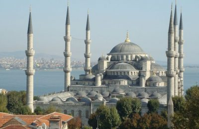 The Blue Mosque in the Sultanahmet district, a popular tourist area that is home to many of Istanbul's Ottoman and Byzantine sites.