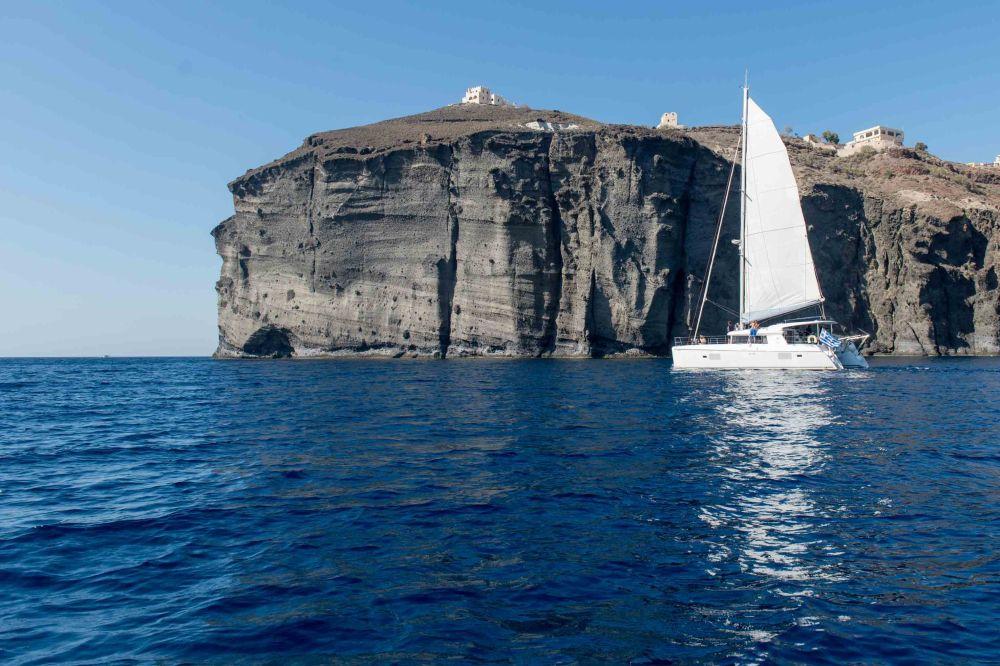 Caldera Yachting in the waters surrounding Santorini Island.