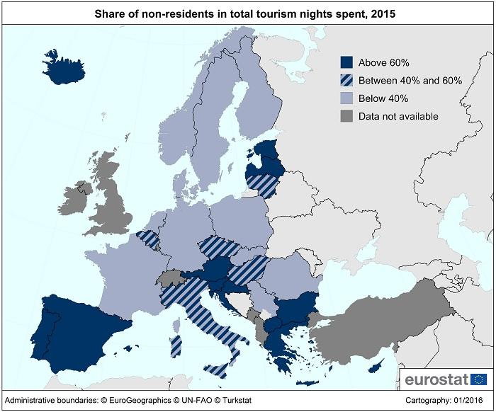 Eurostat: share of non-residents in total tourism nights spent, 2015.