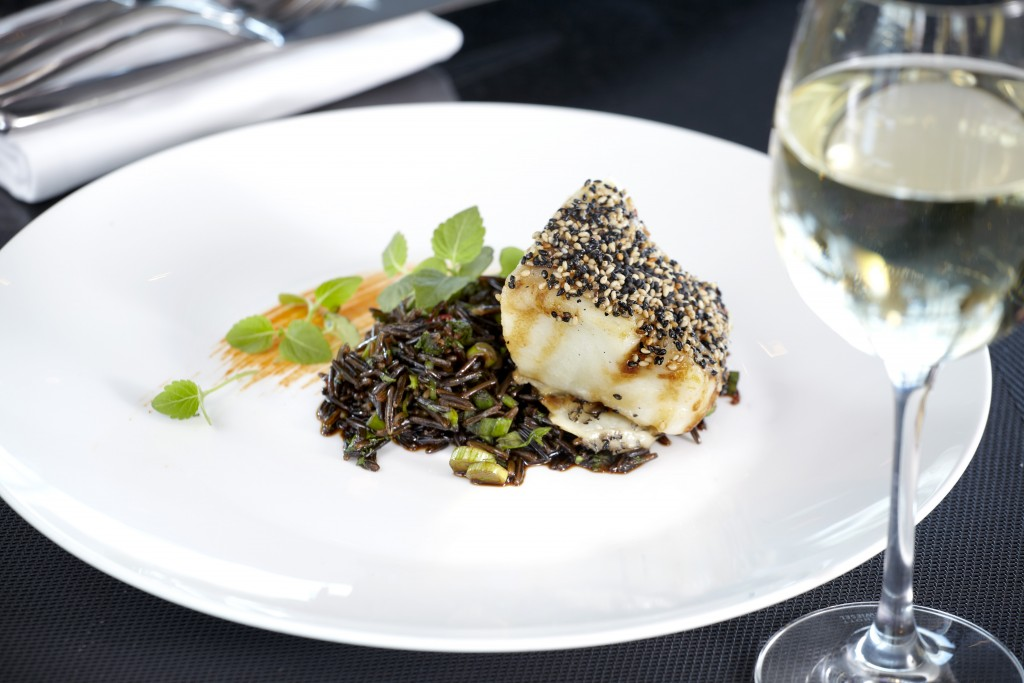 Galaxy's black cod fillet with wild rice.