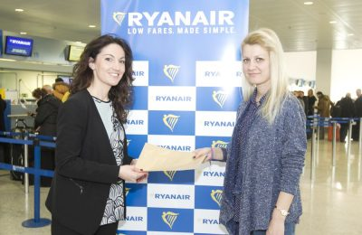 Ryanair's Sales and Marketing Manager for Greece, Chiara Ravara (left), with the carrier's one millionth customer on the Athens - Thessaloniki route.