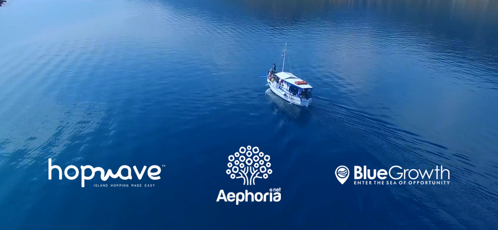 "The first prize of the 2nd BlueGrowth challenge, organized by aephoria.net, went to the ""hopwave"" team for its online ticketing service for island-based boats to unknown destinations."