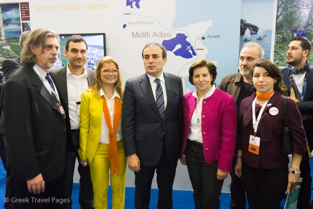 North Aegean Region stand - Christiana Kalogirou, Governor of the North Aegean Region (right), with Turkey's Minister of Culture and Tourism, Mahir Unai and Hacer Aydin, ITE Turkey Tourism & Travel & Fashion Group Director.