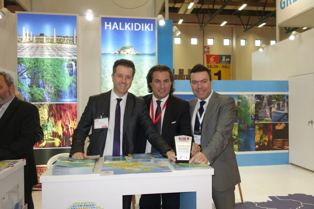 Halkidiki stand at EMITT 2016 – Halkidiki Tourism Organization's president, Grigoris Tasios; Stefanos Hatzimanolis, head of PR for the Turkish market; and general director, George Broutzas.
