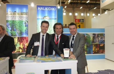 Halkidiki stand at EMITT 2016 – Halkidiki Tourism Organization's president, Grigoros Tasios; general director, George Broutzas; and Stefanos Hatzimanolis, head of PR for the Turkish market.