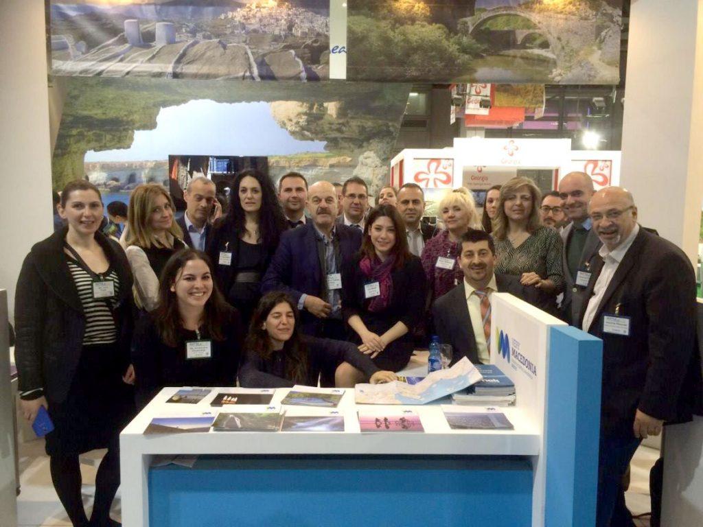 IMTM 2016 - FEDHATTA's president, Lysandros Tsilidis, and the secretary of the Evrytania Hoteliers Association, Sofia Flega, with many Greek and Israeli travel agents.