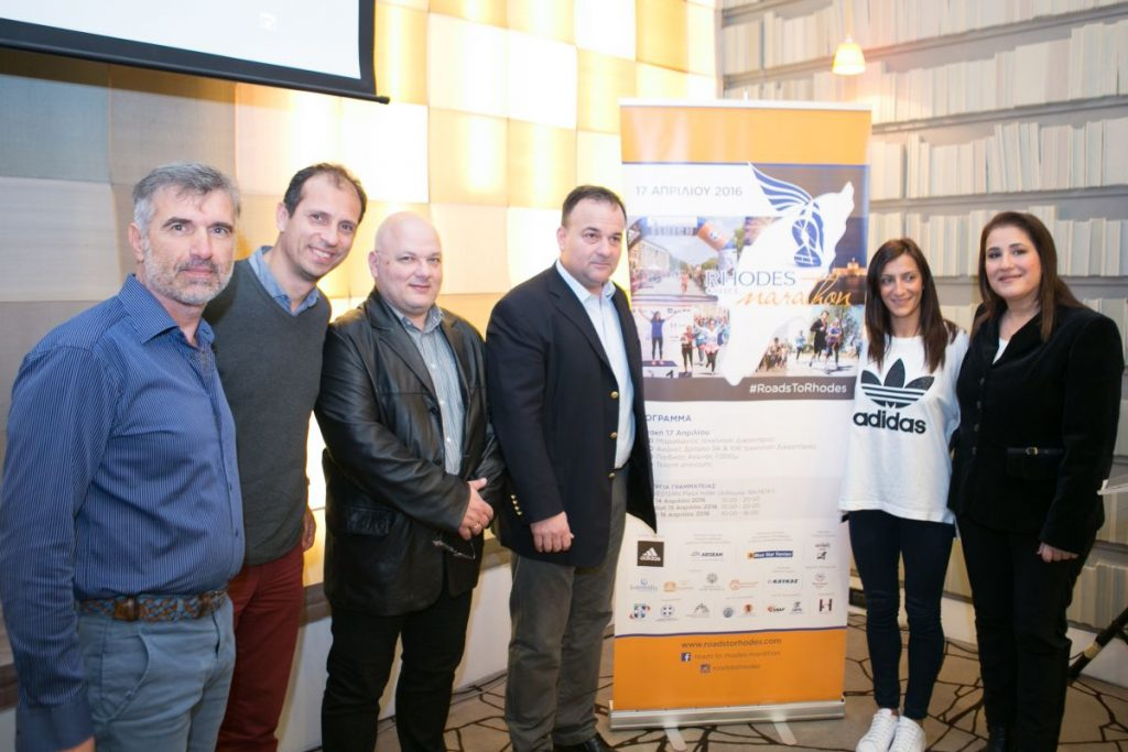 (From left to right) Υιοργοσ Vassilakis, technical race director; Nikos Polias, official marathon timekeeper; Tasos Pantazidis, partner to the General Secretary of Sports; Yiannis Pappas, Dodecanese former MP; Rania Rempouli, marathon champion; and Marietta Papavasileiou Deputy Head of South Aegean. Photo credit: Nikos Karanikolas