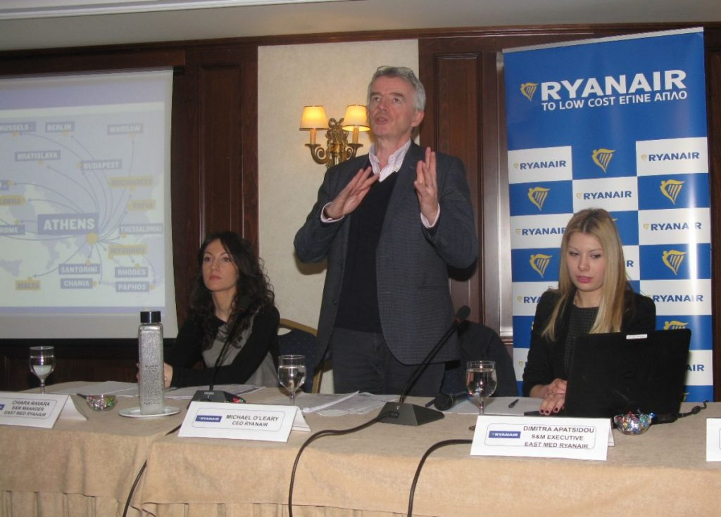 Ryanair CEO Michael O'Leary speaking during a press conference in Athens.