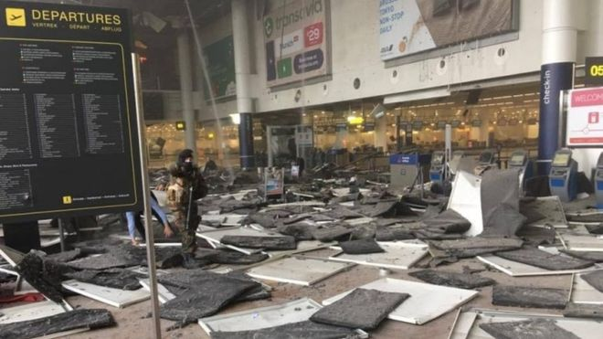 The aftermath in the departures hall at Brussels Zaventem airport following the explosions. Photo © Jef Versele
