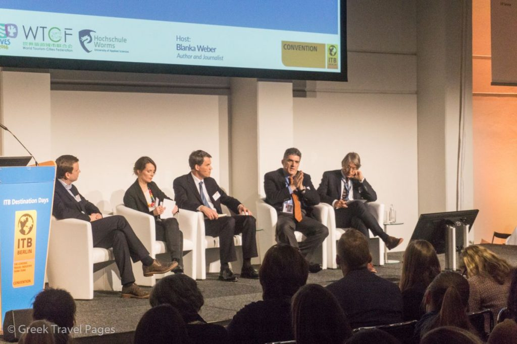 "ITB Destination Days - George Drakopoulos, President & CEO, tourism generis, Special Adviser to the Secretary General of the UNWTO (second from right) speaking on the refugee issue during the ""Escape, Migration And Tourism"" panel."