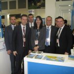 Minister Kountoura with Halkidiki Tourism Organization President Grigoris Tasios (second left) at Halkidiki stand.
