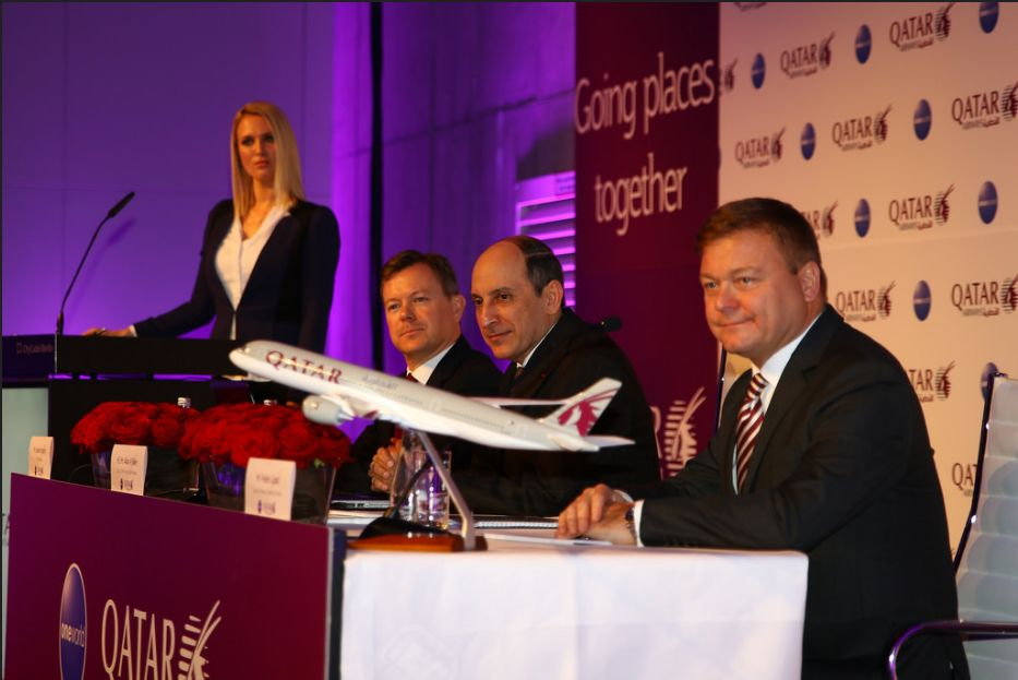 Qatar Airways Group Chief Executive H.E. Mr. Akbar Al Baker was joined by Qatar Airways SVP NSW Europe, Jonathan Harding (left) and Qatar Airways Country Manager Germany and Austria, Frédéric Gossot (right) at the airline's ITB Press Conference hosted by Sky TV Presenter, Ruth Hofmann.