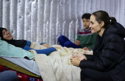 UNHCR Special Envoy Angelina Jolie Pitt talks with Syrian refugees in Lebanon. Photo © UNHCR/L.Knott