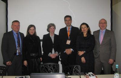 Roula Saloutsi, Public Relations Manager of Aegean Airlines; Annette Kulenkampff, CEO of documenta und Museum Fridericianum gGmbH; Dimitris Tryfonopoulos, General Secretary of Greek National Tourism Organisation; Maria Logotheti, Head of the Athens Mayor's Office; and Ralf Schustereder, CEO of Kassel Airport.