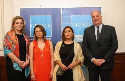(From right) Consul General of Greece in Istanbul Evangelos Sekeris, Region of Attica Executive Regional Councillor for Tourism Promotion Eleni Dimopoulou and GNTO Turkey Chief Officer Maria Rachmanidou.