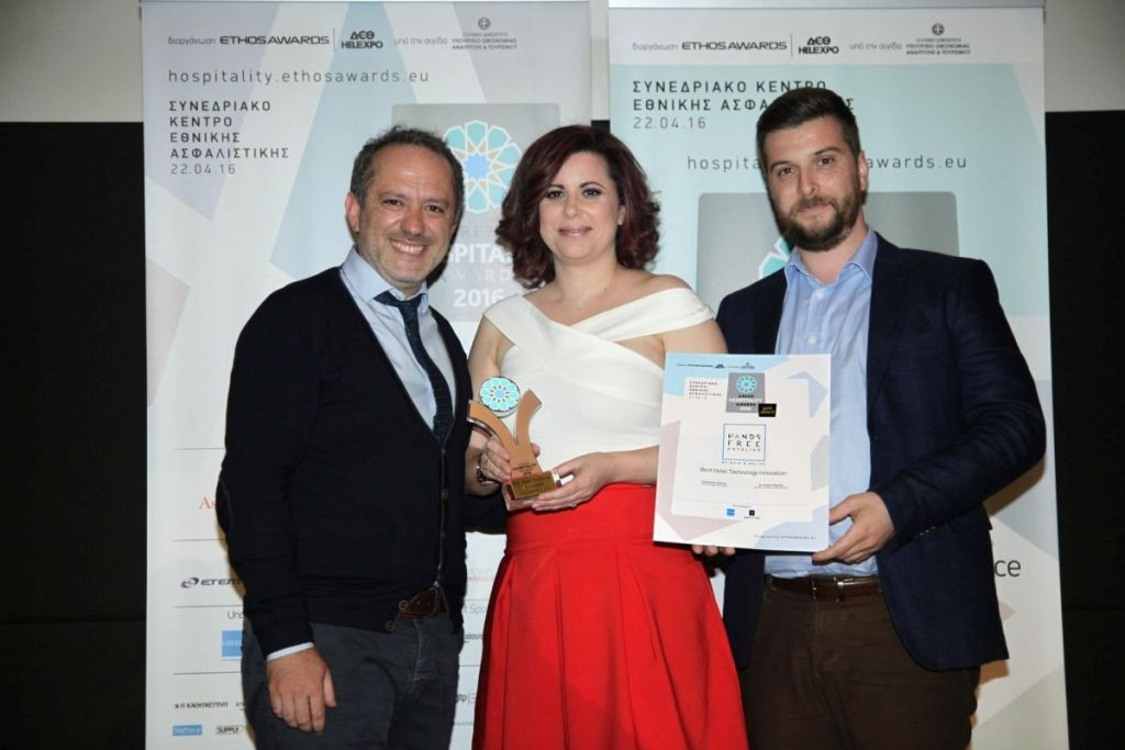 """The creators of the """"Hands Free Hotelier"""" service Dimitris Serifis, CEO of Nelios and Giannis Kyritsis, CEO of Axia Hospitality."""