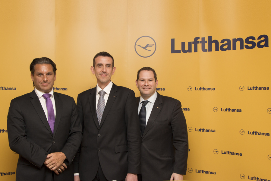 Lufhansa's vice president of Sales & Services for Southeast Europe, Africa and the Middle East, Tamur Goudarzi-Pour; new general manager for Greece and Cyprus, Konstantinos Tzevelekos; and communication manager for Southeast Europe, Africa and the Middle East, Tal Muscal.