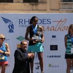 Rhodes Mayor Fotis Chatzidiakos with marathon runners that finished first in the womens category.