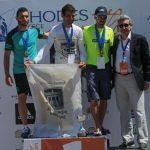 South Aegean Region Governor George Hadjimarkos with marathon runners that finished first in the mens category.