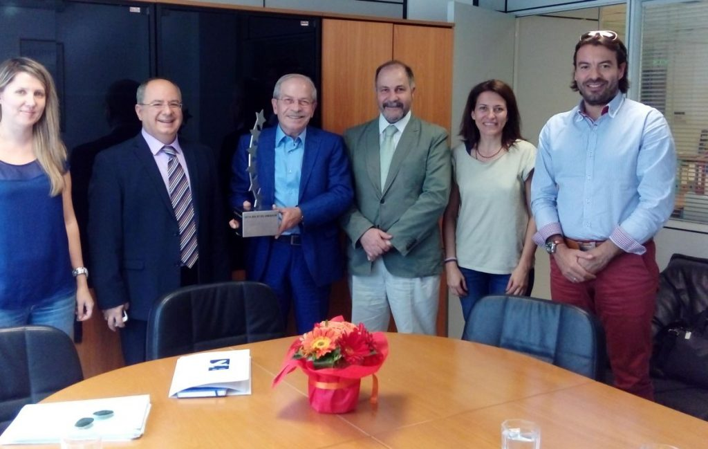IATA's country manager for Greece and Cyprus, George Mamalakis (second from left) with SAAE's Vicky Spyropoulou, Dinos Frantzeskakis, president; Michael Flerianos, member; Zoi Skreki, member; and Yiannis Lentzakis, SAAE for freight.