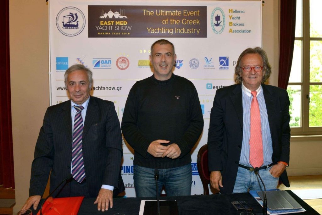 Press conference for 15th East Med Yacht Show - Yiorgos Kollintzas (HYBA), Piraeus Mayor Yiannis Moralis and Antonis Stelliatos (EPEST).