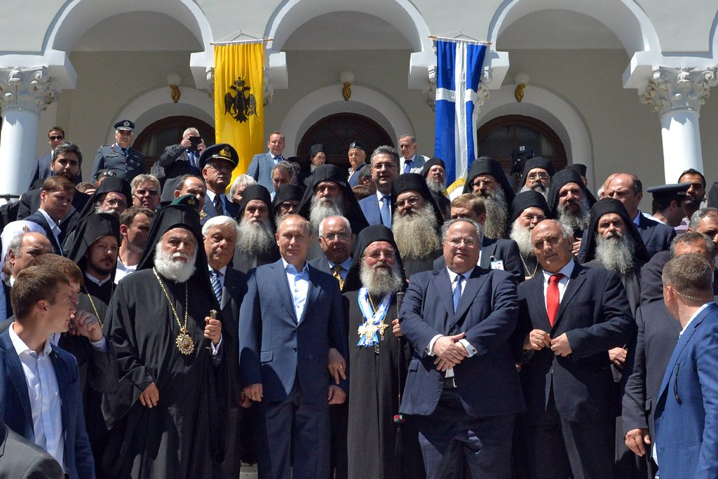Russian President Vladimir Putin closed his weekend visit to Greece with a trip to Mount Athos in Halkidiki. Photo source: @KremlinRussia