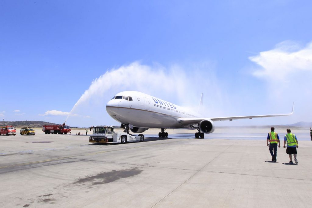 A water cannon salute to mark the launch of United Airlines' new nonstop Athens-New York/Newark service today, May 26.