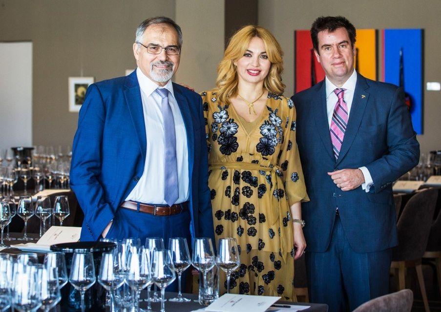 Stelios Kechris, owner; Eleni Kechri, oenologist; and Konstantinos Lazarakis, Master of Wine.