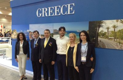 Cleopatra Apostolou, GNTO Market Research Department; the Ambassador of Greece in Seoul, Dionysis Sourvanos; Athanasios Karapetsas, the General Director of Economic and Commercial Affairs; Greek presenter in Korea, Andreas Varsakopoulos; and Aggeliki Fotopoulou and Ismini Valsamaki from the GNTO.
