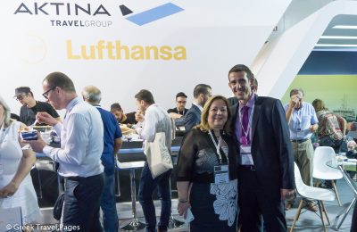 Aktina Travel Group President Claire Zerzivili and Lufthansa General Manager for Greece and Cyprus Konstantinos Tzevelekos.